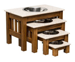 Luxury Wood Dog Feeder With Corian Top   Handmade Elevated Oak Stand With Bowls - $98.97+
