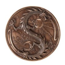 Double Dragon Alchemy Wall Plaque in Bronze Patina - $49.49