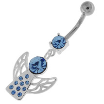 Angel Wings Silver Navel Belly Button Ring - $10.69