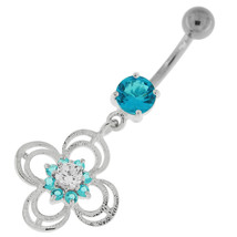 Flower With Bow Jeweled Silver Belly Button Ring - $9.99