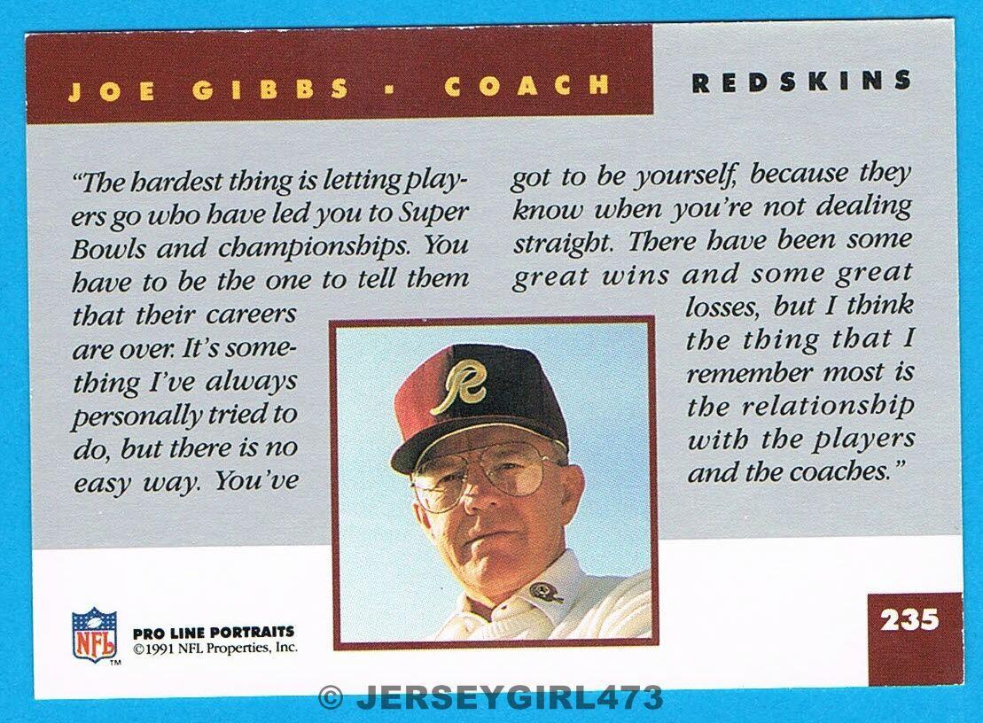 Joe Gibbs 1991 Pro Line Portraits Washington Redskins Football Coach Card #235