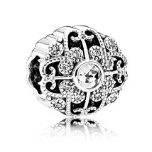925 Sterling Silver Fairytale Bloom with Clear CZ Charm Bead QJCB976 - $21.98
