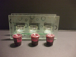 Heavy Glass Rectangle 3 Candle Holder  With 3 Votive Candles Lavender - $49.49