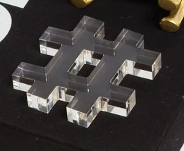 Acrylic Transparent # Hashtag Paper Weight or Home Desk Shelf Decor