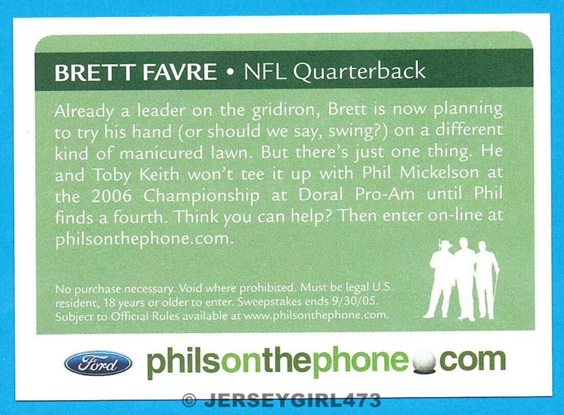 Brett Favre 2005 Ford Golf Championship Contest Promo Card ~ HARD TO FIND CARD