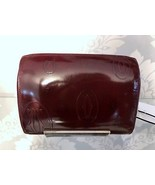CARTIER Small Zippered  Burgundy Patent Leather Clutch - $225.64