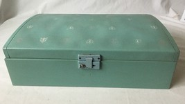 Vintage Jewelry Box Blue Green Vinyl Domed Lid Damask Design USA Made - $21.95