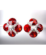 EXQUISITE Ruby Red Swarovski Crystals Bridal Prom Pageant Queen CLIP Earrings - €23,02 EUR
