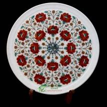 HandmadeMarble Decorative Plate Floral DesignInlay |Carnelian Semiprecio... - $575.00