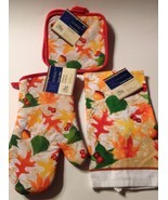 Fall Leaves Hot Pads Oven Mitt Dish Towel 4 Piece Set Autumn Leaf - $15.79