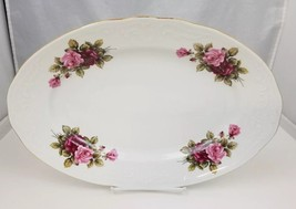 "Menuet Collection Oval Serving Dish Platter 13 5/8"" X 9 1/4"" White Roses... - $19.34"