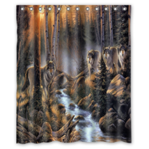 Wolf #01 Shower Curtain Waterproof Made From Polyester - $31.26+