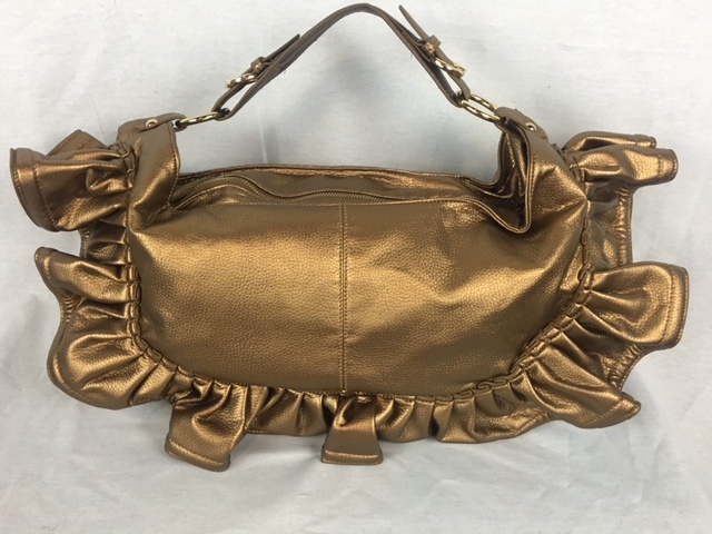 Gold Ruffle Leather Handbag
