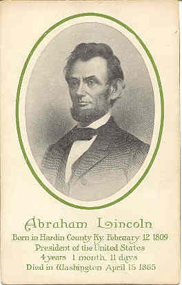 President Abraham Lincoln 1906 Vintage Post Card