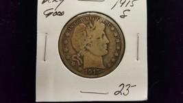 1915 S Very Good Silver Barber Half Dollar  - $22.95