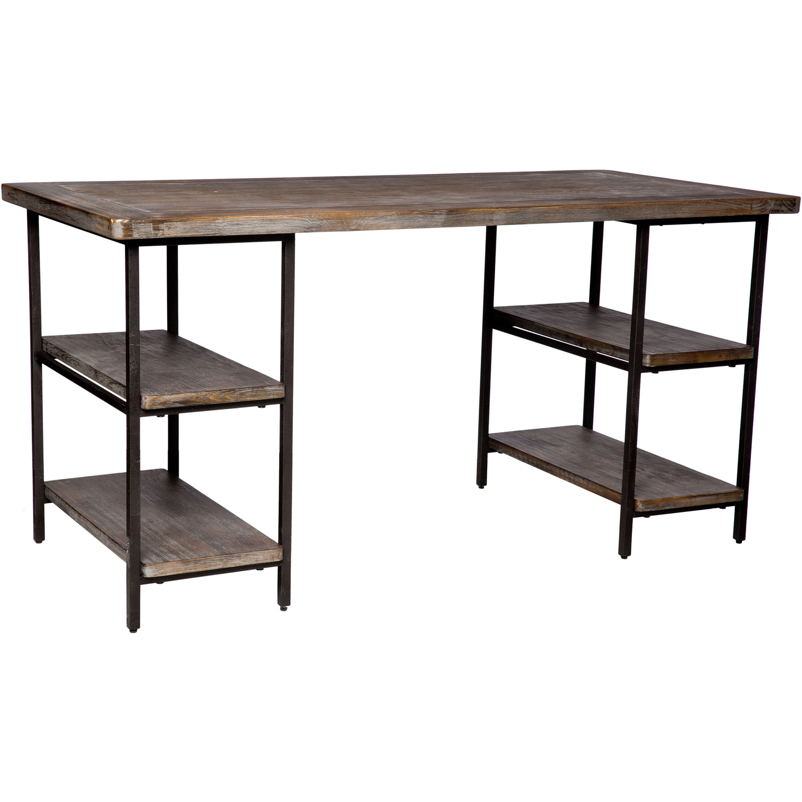 Ash Kitchen Cabinets Wood Metal Office Desk Computer Writing Shelves Rustic