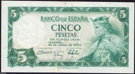 Spain 1954  *** 5 Pesetas/ King Alfonso X  ***  Banknote VF+++ - $10.29
