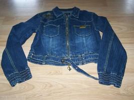Juniors Size XL Baby Phat Blue Jean Denim Jacket Coat Gold Accent EUC - $35.00