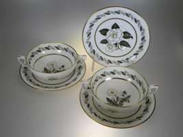 Royal Worcester Engadine Lot of 2 Cream Soup Bowls & 3 Cream Soup Liners - $21.46