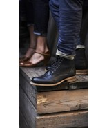 Handmade Men Black Ankle Boot Great Military Vintage Lace up Formal Boots  - $166.73+