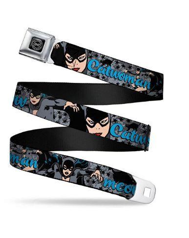 Batmans Catwoman Meow Logo w/Stars Gray/Black Seatbelt Belt Adjustable Waist