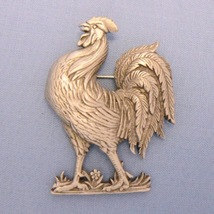 Barnyard Rooster Silver Pewter Pin - $12.85