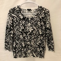 Talbots Womens Small Sweater Cardigan Black White Print Cotton  - $15.98