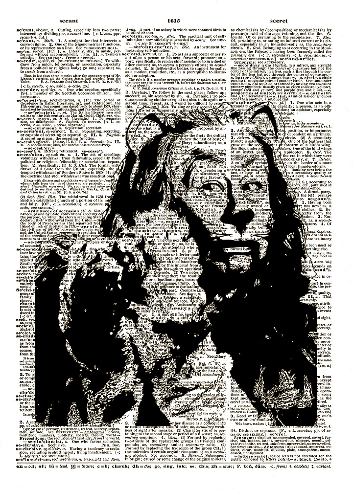 The Cowardly Lion WIZARD of OZ Dictionary Art Print No. 0046