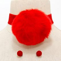 Red Velvet Pom Pom Charm Pendant Accent Choker Necklace And Earrings - $29.95