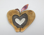 HEART APPLE Vintage Brooch Pin in Brass, Silver, Copper by Designer FAR FETCHED