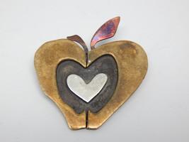 HEART APPLE Vintage Brooch Pin in Brass, Silver, Copper by Designer FAR ... - $30.00