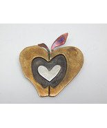 HEART APPLE Vintage Brooch Pin in Brass, Silver, Copper by Designer FAR ... - $30.00