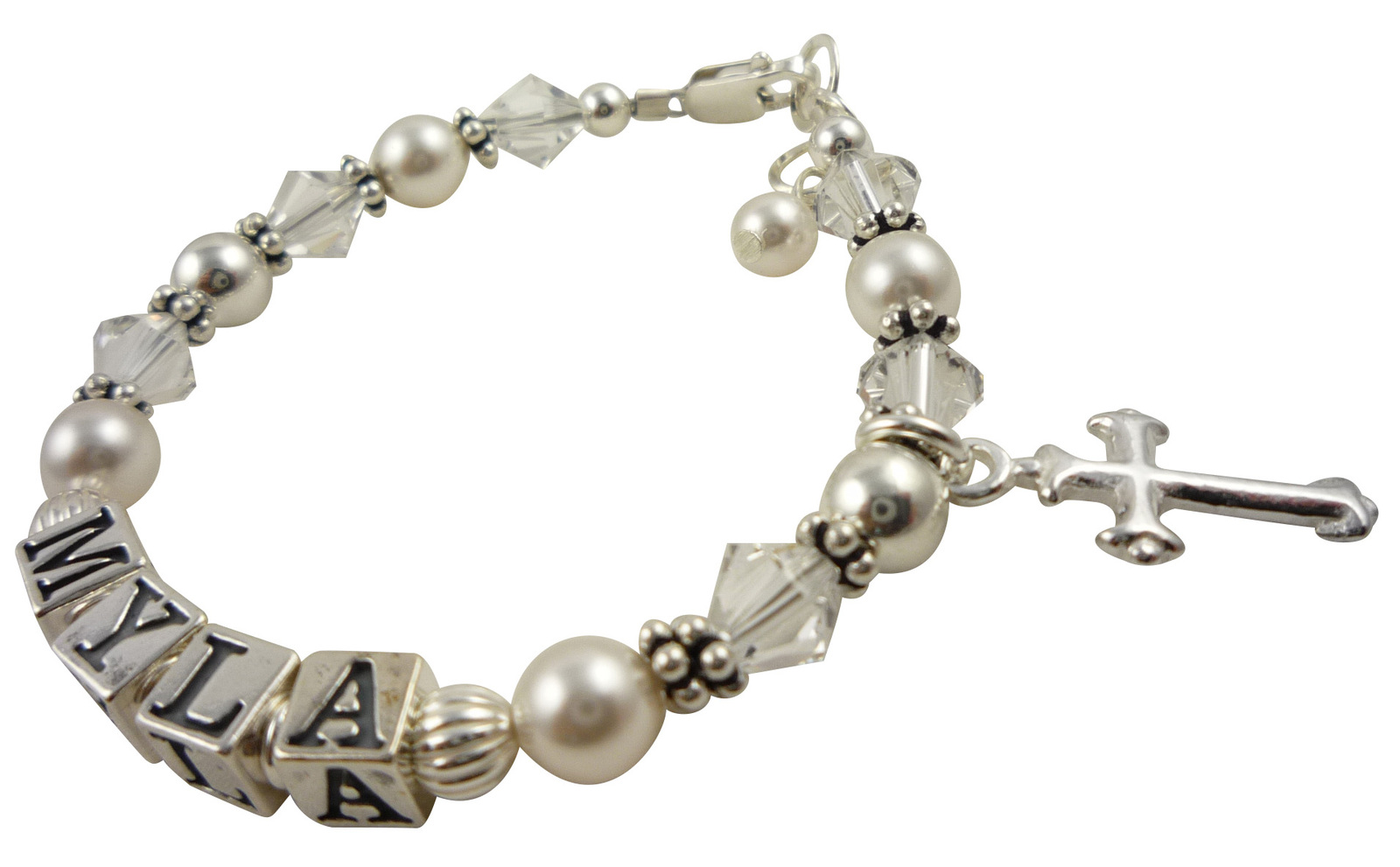 Name bracelet myla clear white pearl cross
