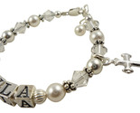 Name bracelet myla clear white pearl cross  thumb155 crop