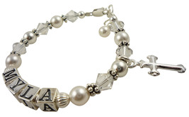Communion Baptism Christening Cross Child Bracelet , Many Colors - $38.50+