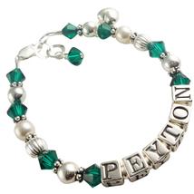 Emerald Heart Charm Bracelet, Design your Colors  - $38.50 - $53.50