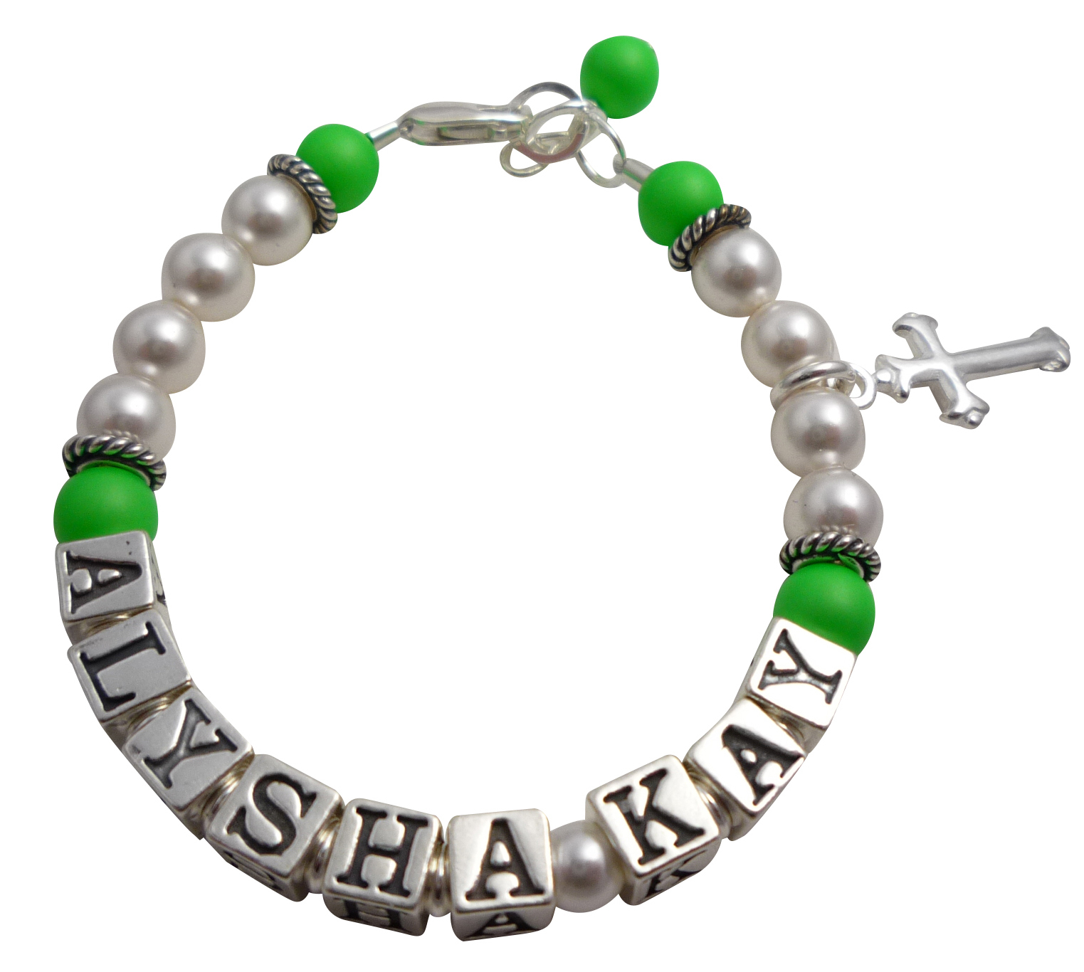 Neon Green Pearl Custom Child Bracelet for Baptism Baby Big Girl