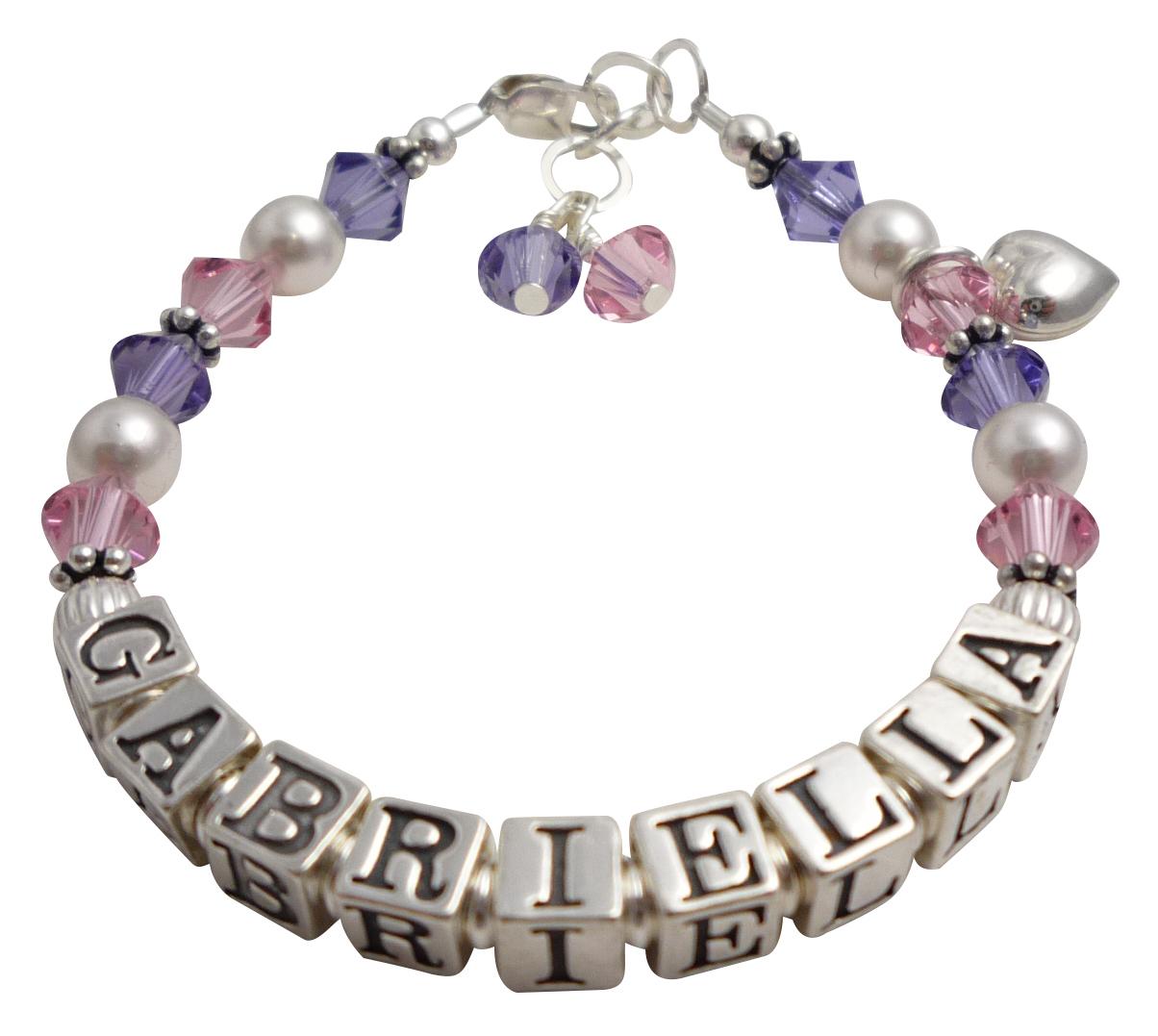 Name bracelet gabriella tanzanite heart charm