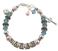 Aquamarine or any Birthstone Cross Charm Name Bracelet Baby, Child Cryst... - $43.50+