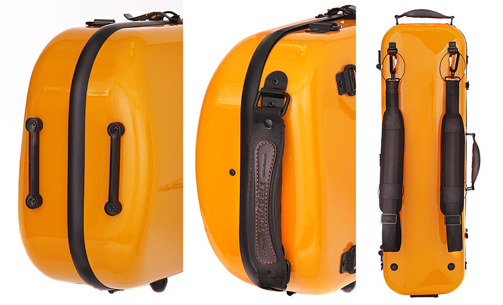 TONARELI Fiberglass Violin 4/4 OBLONG Hard Case - ORANGE - NEW with straps