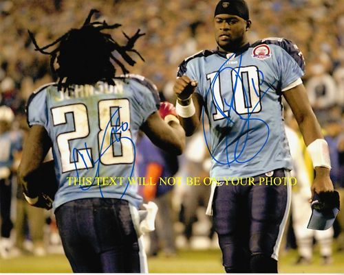 CHRIS JOHNSON & VINCE YOUNG SIGNED 8x10 RP PHOTO TITANS