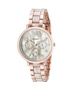 Brand New Fossil Jacqueline Rose Gold Tone Steel Horn Acetate Women Watch ES3921 - $78.04