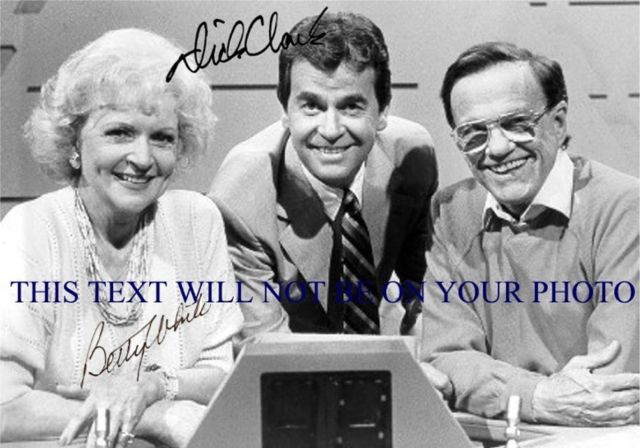 DICK CLARK AND BETTY WHITE SIGNED 6x9 RP PHOTO 25,000 PYRAMID W BILL CULLEN
