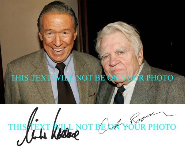 MIKE WALLACE AND ANDY ROONEY AUTOGRAPHED SIGNED 8x10 RP PHOTO 60 MINUTES
