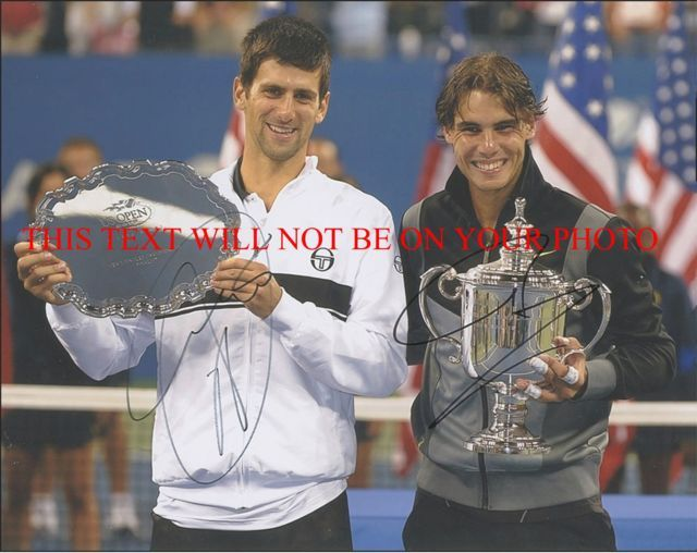 NOVAK DJOKOVIC AND RAFAEL NADAL SIGNED AUTOGRAMME 8x10 RP PHOTO TENNIS CHAMPS