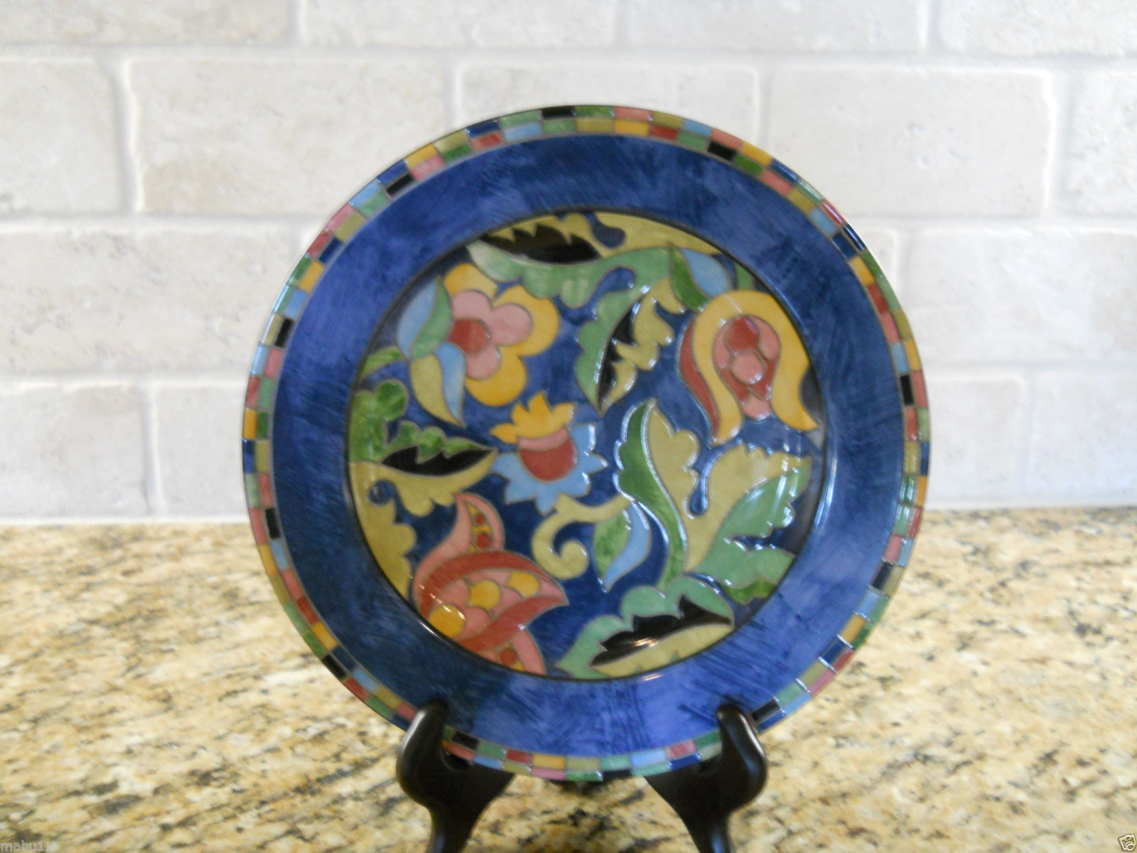PTS Interiors Fantasia Rimmed Soup Bowl  multicolored