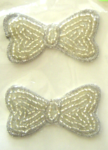 Vintage Silver Bows Sequin Applique Sew-On Sequined Patch Set  NIP  - $8.99
