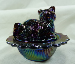 Cat on Nest Salt Dip Purple Carnival Glass Kitty Kitten - $17.99