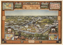1939 Pictorial Map Pittsburgh Pennsylvania 1889 Bird's Eye View Wall Art... - $12.38+