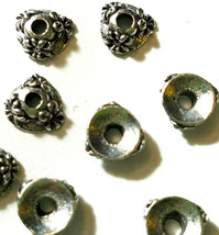 PAIR OF FLORAL BEAD CAPS FINE PEWTER - 6x6x2.5mm image 2